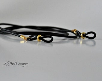 Leather and Gold Eyeglass Chain, Sunglasses Chain, Black Leather Chain, Glasses Leash, Leather Eyeglass Holder,Gold Eyeglass Holder