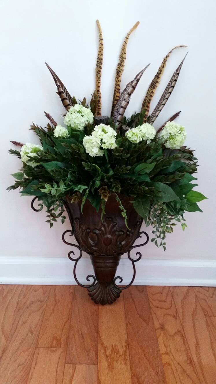 Wall Sconces For Greenery : Wall Sconce Greenery Floral Arrangement Silk Flowers Ferns