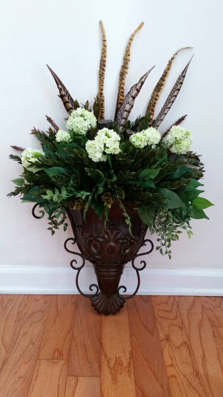 Wall sconce greenery floral arrangement silk flowers ferns