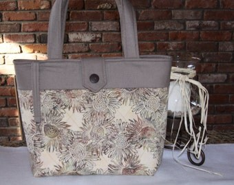 Taupe Quilted Tote Bag