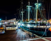The USS Constellation at night, in the Inner Harbor of Baltimore, Maryland. | Photo Print, Stretched Canvas, or Metal Print.