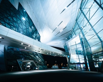 Exterior of BMW Welt at night, in Munich, Germany. | Photo Print, Stretched Canvas, or Metal Print.