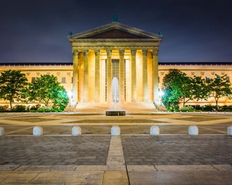 The Art Museum at night, in Philadelphia, Pennsylvania. | Photo Print, Stretched Canvas, or Metal Print.