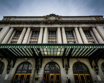 The exterior of Pennsylvania Station, in Baltimore, Maryland.   Photo Print, Stretched Canvas, or Metal Print.