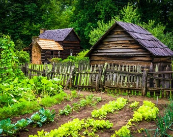 Garden & Mountain Farm Museum, Oconaluftee Valley, Great Smoky Mountains, North Carolina. | Photo Print, Stretched Canvas, or Metal Print.