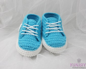 Turquoise  Baby shoes, baby booties, baby shower gift, crochet baby shoes, baby gift, baby, crochet baby, shoes, baby sneakers, BB101-C2