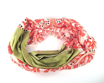 Cotton Infinity Scarf in White and Orange with an Olive Green Silk Panel