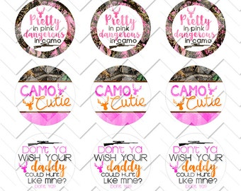 Camo Cutie, Digital Bottle Cap Image Sheet, Instant Download, Printable, 1 inch circles