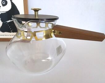 Teak Handle Coffee Tea Pot Carafe Vintage Mod Wood Brass