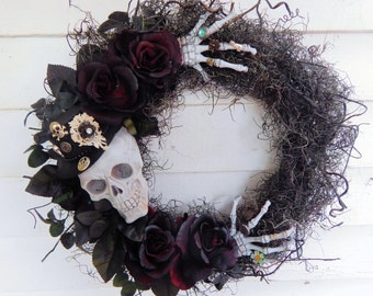 "Halloween Wreath, Fall Wreath, ""Skeleton in my Closet"" Halloween Decor, Black & White Wreath, Skeleton Wreath,Gothic Wreath"