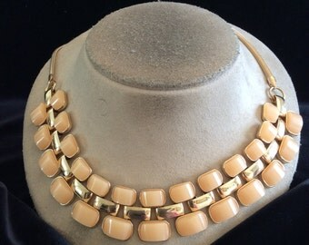 Vintage Chunky Signed T Peach Stone Linked Necklace