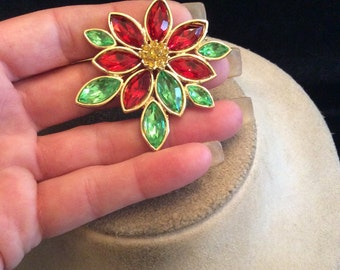 Vintage Red Yellow & Green Rhinestone Christmas Floral Pin