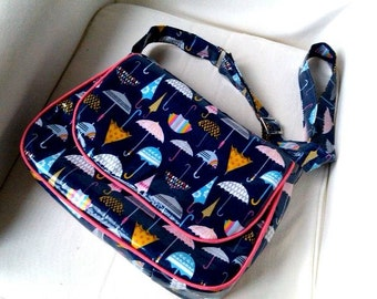DESIGN your own Weather Girl Messenger Bag // Wipe clean Rain or Shine Messenger // Waterproof Navy Crossbody Bag // laminated cotton bag