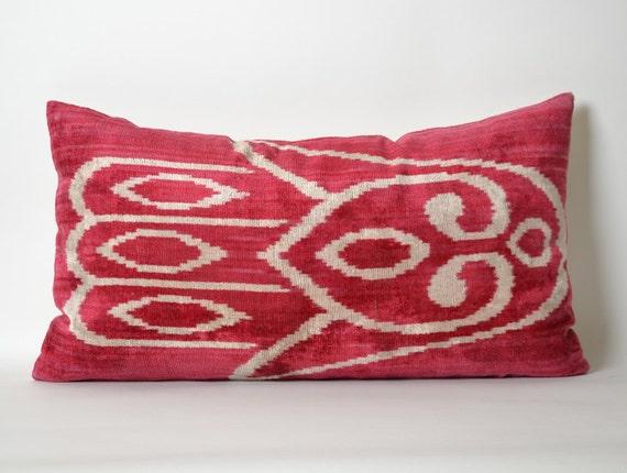 Red Ikat Pillow Cover 14x26 Velvet Ikat Lumbar By Pillowme