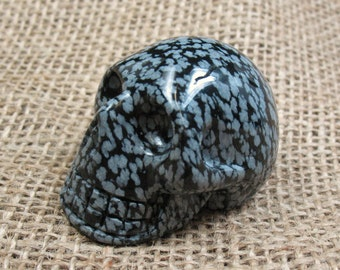 Snowflake Obsidian Skull Carving - 1.8 inches - Item 73787