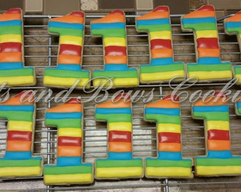 Striped Number One Cookies