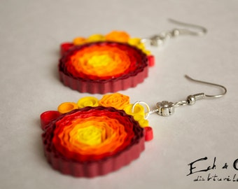 Recycled paper quilled colorful dangle earrings