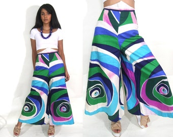 Vintage 60s 70s Psychedelic Op Art Swirl Print Palazzo Wide Leg Bell Bottom High Waist Pants Hippie Glam