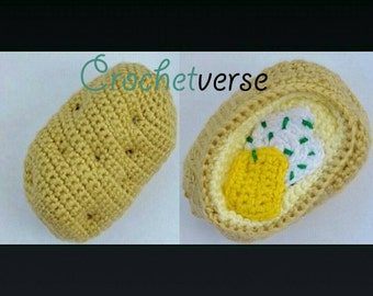 Baked Potato Crochet Pattern Amigurumi Play Food Softie Toy