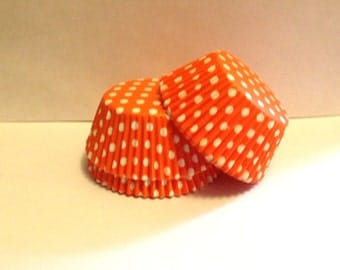 50 count - Grease Resistant Orange with White Polka dots standard size cupcake liners/baking cups