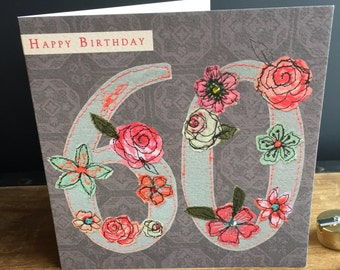 Age 60-Greeting Card- handfinished