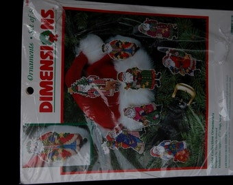 Christmas Ornament Kit - Dimensions - Counted Cross Stitch Santa Collection - 8 ornaments