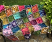 Hawaiian batik rag quilt - beach blanket - Hawaiian decor - ocean blanket - Hawaiian quilt - boho chic - island decor - ocean decor