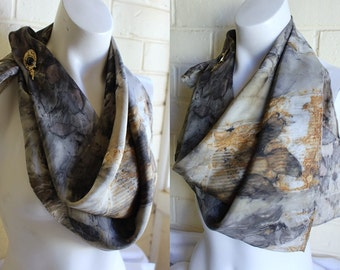 Eucalyptus Imprints Eco dyed silk scarf