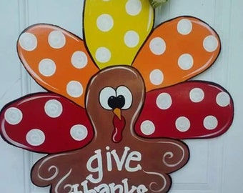 Thanksgiving Turkey Door Hanger by ReLoved Treasure, Fall door hanger, hand painted door hanger