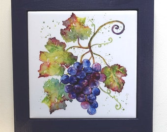 Grapes Framed Tile Wall Art or Trivet Original Watercolor