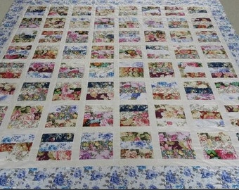 Hawaiian style machine pieced patchwork quilt top