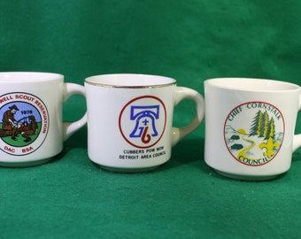 Vintage Boy Scout Camp Coffee Cups - Lot of 3  - Scarce Charles Howell Scout Reservation  and Chief Cornstalk Council