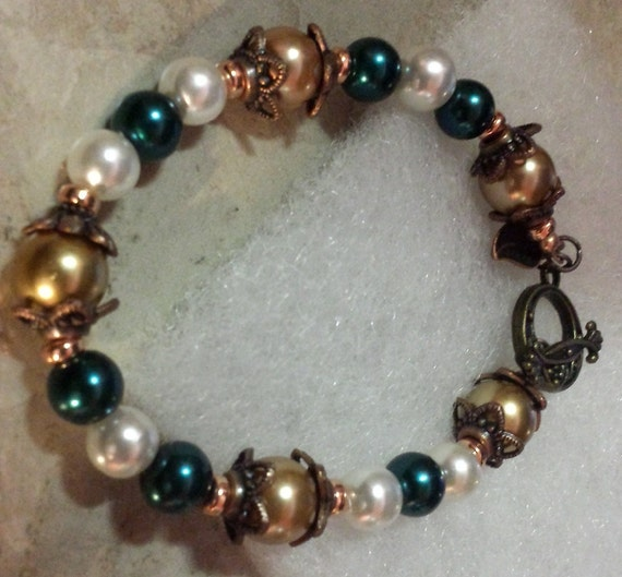 Green and Copper Pearl Bracelet - Forest