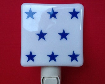 Navy Stars, Navy, Stars, Star, Bedroom, Fused Glass, Night Light, Bathroom, SALE, Decorative Light, Nightlight, Nite Light