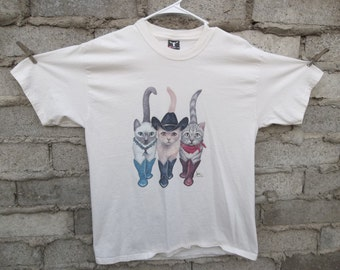 Vintage T-shirt 1980s 90s Western Cats Double sided Large Super Cute Boots Cowboy Hat Collectible Hard to Find