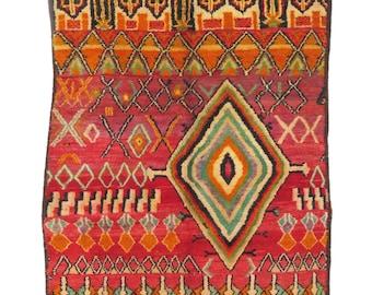 Vintage Moroccan Abstract Boujad Rug