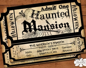halloween invitation, haunted mansion ticket invitation, handmade, halloween party vintage invitation, halloween invite - DIY PRINTABLE