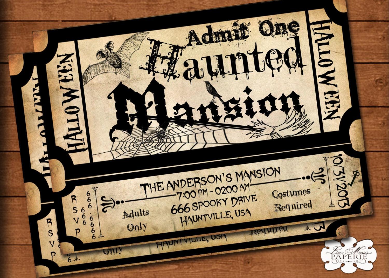 halloween tickets halloween invitation haunted mansion ticket invitation handmade halloween party vintage invitation halloween invite diy printable