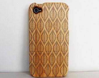 WOODEN PHONE CASE leaf design laser etched bamboo (wooden iPhone 4 case & wooden iPhone 4s case)