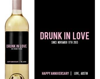 Anniversary Wine Label - Custom Wine Label - Personalized Wine Label - Anniversary Wine Bottle Label - Drunk in Love - Valentines Day