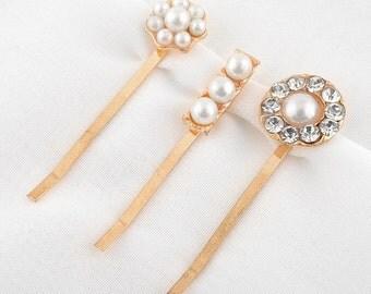 Gold Pearl and Rhinestone Hair Pins Set