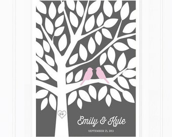 Guest Book Tree - Modern Guestbook Alternative for 50 Guests in Pink and Grey
