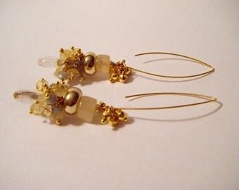 EARRING gold RUTILE quartz with little gems