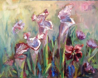 "Pitcher Plants | Print of Original Artwork | Jeanie Posey Artist | 5x7"" and 8x10"" Matted and Backed"
