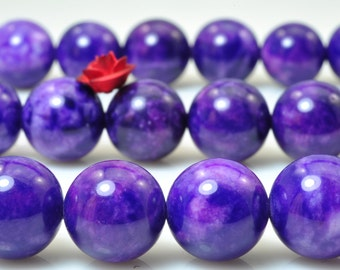37 pcs of Natural Dyed Purple Jade smooth round beads in 10mm