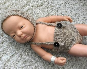 Newborn knit bonnet and suspender bottoms,photo prop,gift,boy,girl,crochet,bear