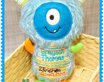 Personalized Plush Monster - stuffed animal monster - childrens toy - embroidered suffed monster - monster stuffie