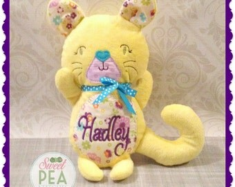 Personalized Plush Cat - Stuffed Animal - Stuffed Kitty cat - Plush Toy - Embroidered  Cat - Kitten - Kitty Cat
