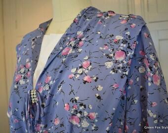 40s Vintage Floral Kerrybrooke Rayon Dress Slate Blue with Floral Sprays VNWT