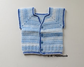 Crochet Boys Vest, 6 to 9 Months, Sleeveless Cardigan, Sweaters, Baby Clothes, Autumn Clothes, Blue & White Crochet Boys Vest, Boys clothes